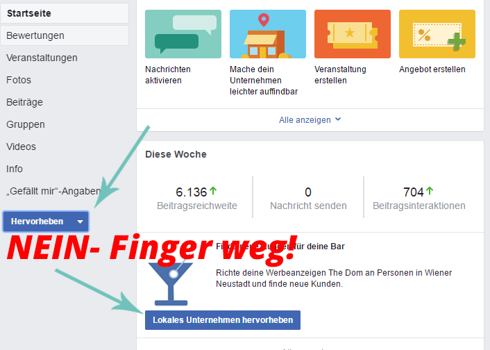 Facebook Button Lokales Unternehmen hervorheben direkt von der Fanpage