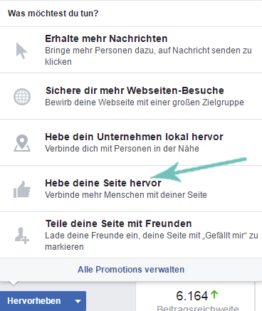 Facebook Button Lokales Unternehmen hervorheben direkt von der Fanpage Mnue