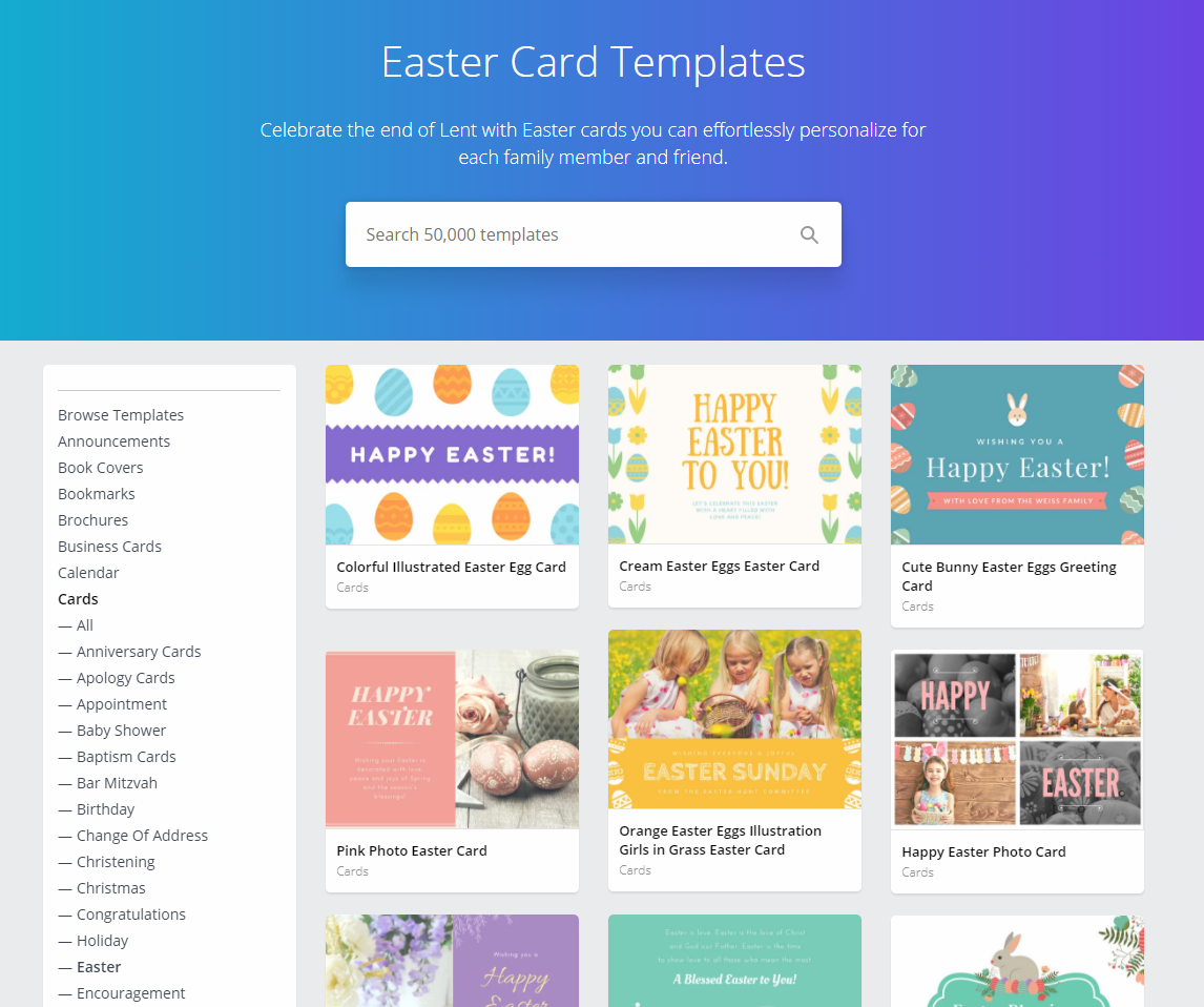 Canva Easter Vorlagen Suche über Google