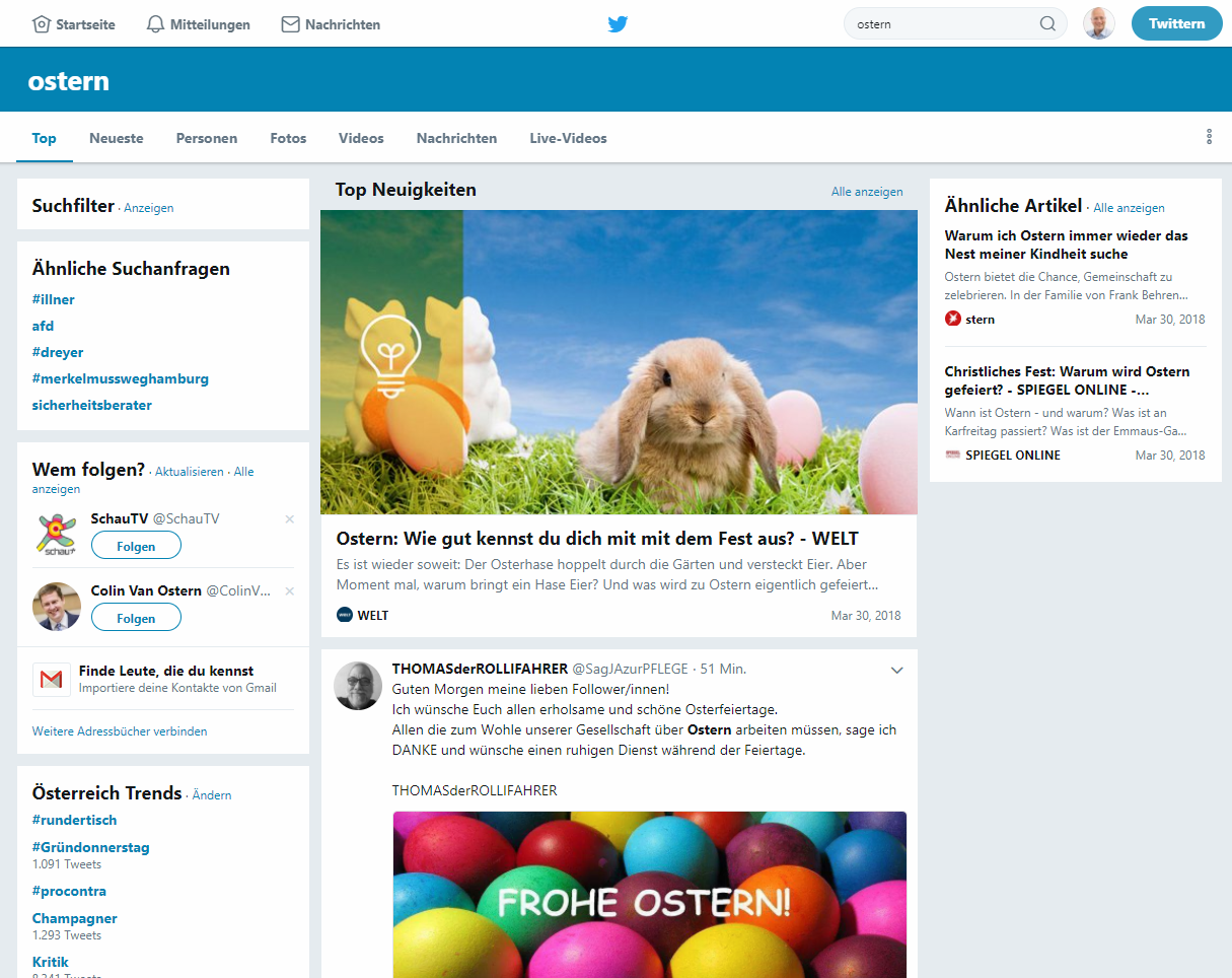 Twitter Suche Ostern Top Postings