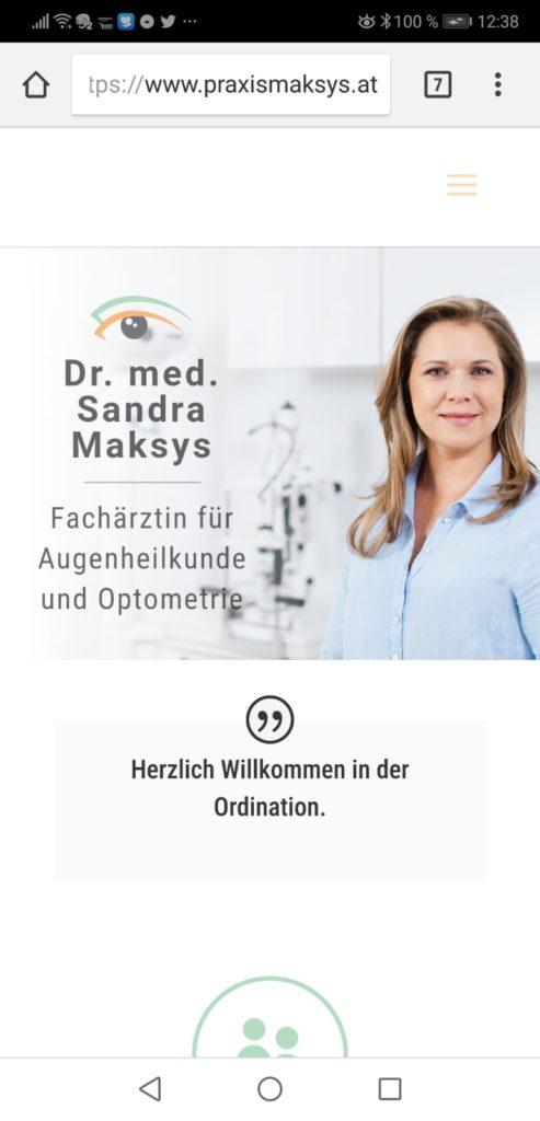 Augenarzt Dr. Sandra Maksys Website Screenshot
