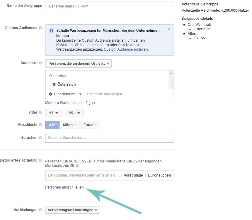 Facebook Werbeanzeigen Manager detailiertes targeting Expats ausschliessen