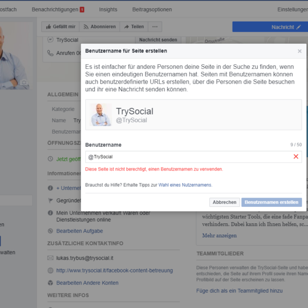 Facebook Fanpage Benutzernamen erstellen ohne Fans