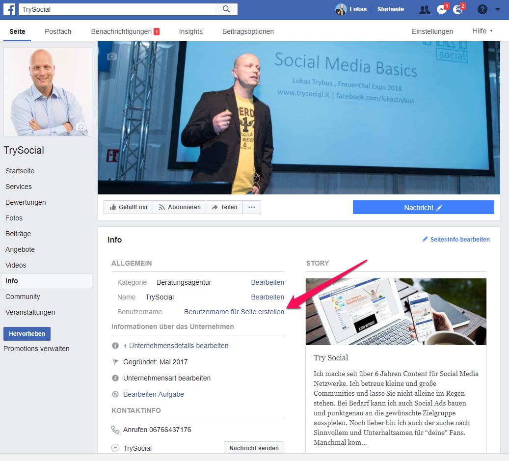 Facebook Vanity Url Benutzernamen erstellen
