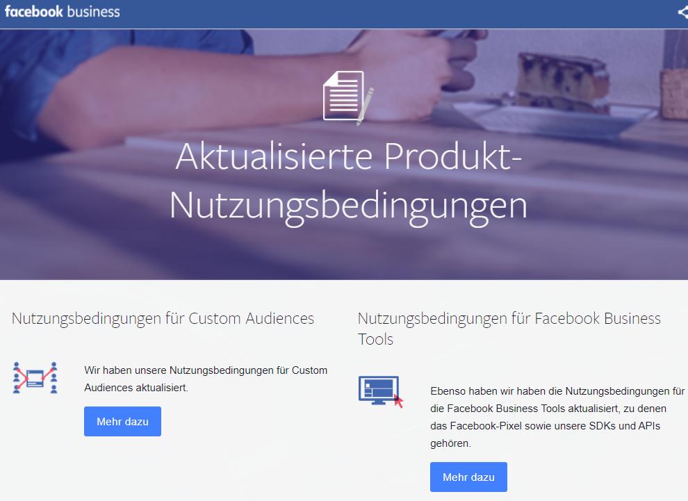 Neue Facebook Nutzungsbedingungen für Facebook Business Tools